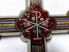 """ANTIQUE LG.CROSS/CRUCIFIX W/MICRO MOSAIC BLESSED BY POPE PIUS XII 9 3/8"""" 290 G Pope Pius Xii, Crucifix, Mosaic, Blessed, Women's Fashion, Candles, Christmas Ornaments, Antiques, Holiday Decor"""