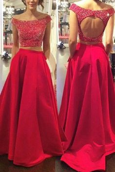 Two Piece Off-the-Shoulder Open Back Prom Dresses With Beading PG313