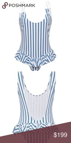 !!NEW!! Caroline Constas Tinos One Piece Size M Scoop neck one-piece in our dot stripe print. Low dipped scoop back and topstitched details. Playful and flattering ruffles at the lower waist. Caroline Constas Swim One Pieces