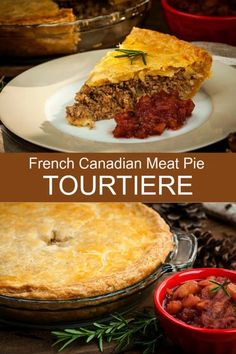 French Canadian Tourtiere - Creative Cynchronicity A delicious hearty meat pie with a unique blend of spices. A traditional Christmas Eve holiday favorite in Quebec! Canadian Cuisine, Canadian Food, Canadian Recipes, Canadian Dishes, Russian Recipes, French Meat Pie, French Pork Pie Recipe, French Canadian Meat Pie Recipe, Easy Meat Pie Recipe