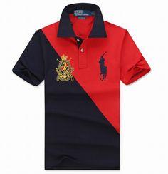 Ralph Lauren Men Slim Sash Stripe Contrasting Collar Big Pony Polo Red Black