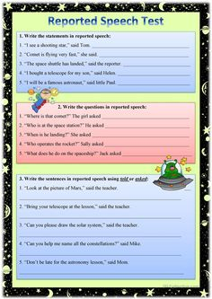 A test on reported statements, questions, requests and commands for pre-intermediate - intermediate learners. English Grammar Worksheets, Grammar Book, Grammar Lessons, Grammar Exercises, English Exercises, English Writing, English Study, Learn English Words, English Lessons