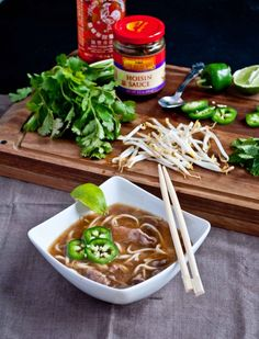 Pho Bo (Vietnamese Beef & Noodle Soup). Delicious! We love beef pho so we were excited to fund this recipe! Pretty darn close to what we get at our favorite Vietnamese restaurant. -CJW