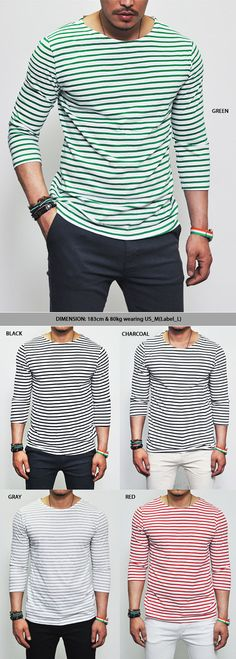Mens Smart Casual Cropped Sleeve Stripe Tee By Guylook.com Skinny Dress Pants, Mens Dress Pants, Men's Khakis, Smart Casual Men, Discount Dresses, Striped Tee, New Outfits, Joggers, Mens Fashion