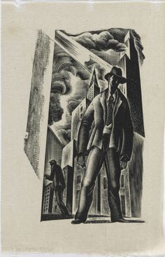 Lynd Ward (1905–1985). Prelude to a Million Years, ca. 1933. Wood engraving on tissue paper, plate -15.