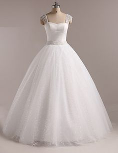 Ball Gown Straps Floor-length Wedding Dress (Velvet) – USD $ 149.99