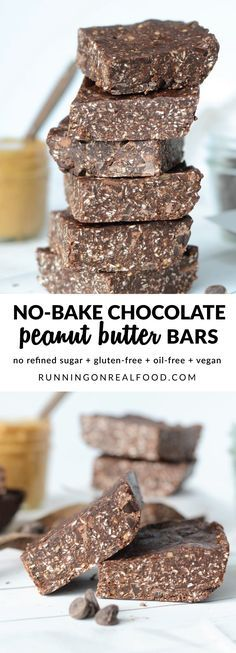 These delicious and addictive no-bake chocolate peanut butter bars are easy to make in minutes with just 6 basic ingredients. No refined sugar, vegan, oil-free and gluten-free. Recipe: http://runningonrealfood.com/no-bake-chocolate-peanut-butter-bars/