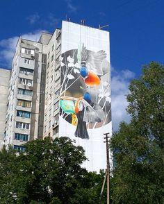 Finches near birds feeder by @andreypalval in Ukraine (Http://globalstreetart.com/andrey-palval)  #globalstreetart #andreypalval #ukraine #urbanart #wall #birds #mural #streetphotography #streetart #art
