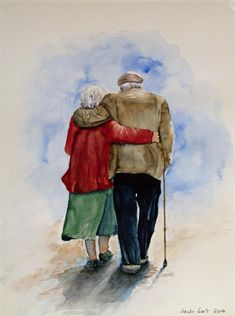 Our sold watercolors and pastels in Unsere verkauften Aquarelle und Pastelle im Jahr 2015 Today the sun is shining (c) watercolor by Hanka Koebsch - Couple Painting, Pour Painting, Figure Painting, Watercolour Painting, Old Man Walking, Old Couples, Art Sculpture, Couple Drawings, Canvas Pictures