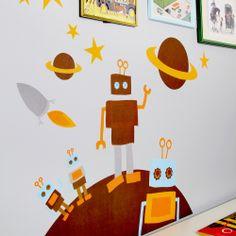adesivo murale robot , i bambini lo adorano!