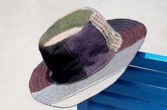 情人節 民族拼接手織棉麻帽 / 針織帽 / 漁夫帽 / 遮陽帽  - 藍色公路旅行手織棉麻 ( 限量一件 )