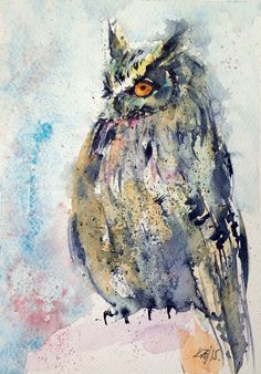 ARTFINDER: Owl II. by Kovács Anna Brigitta - Original watercolour painting on high quality watercolour paper. I love landscapes, still life, nature and wildlife, lights and shadows, colorful sight. Thes...
