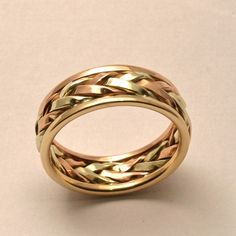 Braided In Gold Mens Large Wedding Band Handmade Maine