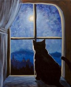 Cat in a window and blue sky moon painting. Graffiti Paintbar - Uncork Your Inner Artist!
