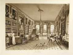 Great Library, Cassiobury, as bound in History and Description of Cassiobury Park, Augustus Charles Pugin, 1816.