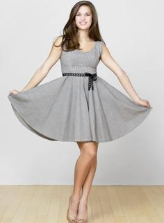 Railroad Stripe Circle Skirt dress,  Dress, Railroad stripe circle, Casual