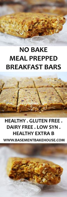 These Healthy No Bake Meal Prep Breakfast Bars are the perfect way to start the day! Gluten Free, Dairy Free, Vegan and Slimming World friendly. Use as your Healthy Extra B plus syns on Slimming World - Basement Bakehouse paleo breakfast meal prep Breakfast Bars Healthy, Slimming World Breakfast, Breakfast Recipes, Slimming World Bars, Slimming World Snacks, Slimming World Meal Prep, Meal Prep Breakfast, Slimming World Baked Oats, Slimming World Flapjack