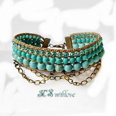 Bohemian Cuff Bracelet Turquoise, Bronze Boho Bracelet Beaded, Turquoise cuff Bracelet Handmade, Bohemian Accesories, Blue Sea Bracelet by MSwithlove on Etsy