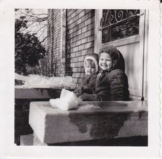 Kids Sitting in Front of Door Vintage Photograph by gwensewvintage, via Etsy.