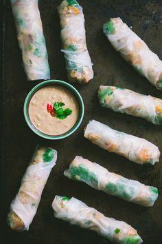 Tempeh, Water Chestnut, and Sweet Potato Salad Rolls with Peanut Sauce |80twenty.ca