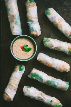 Tempeh, Water Chestnut, and Sweet Potato Salad Rolls with Peanut Sauce | 80twenty.ca