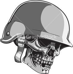 Skull Vector Element With Soldier Helmet Stock Image Soldier Helmet, Army Helmet, Skull Helmet, Helmet Tattoo, Army Tattoos, Military Tattoos, Skull Tattoos, Sleeve Tattoos, Skull Stencil