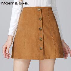 Vintage High Waist Women Skirt Single Breasted Elastic Waist Corduroy Short Skirt Yellow Grey Autumn Fall Winter 2XL B6N2914H