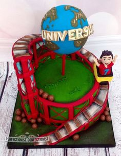 """Zac - Roller coaster Birthday Cake. The cake is an 8"""" chocolate fudge and the rollercoaster track is rice crispie treats. The Universal Globe is a stryrofoam ball (too heavy to make it out of cake)."""