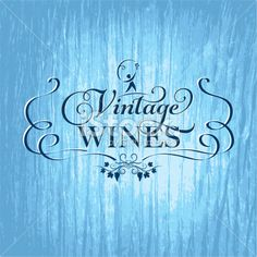 Winery Grapes Sign On Wood - Blue Royalty Free Stock Vector Art Illustration