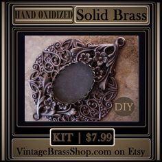 THIS #DIYKIT MAKES 1 #ORNATE 25X18MM #SETTING    #Handoxidized with #deepbrown to brown #black patina    For #flatback #stones#cameos or #cabochons measuring #25X18 #oval    Completed setting measures 2 3/4 inches in length by 2 inches in width    https://www.etsy.com/listing/480394421/diy-kit-2518-oval-filigree-ornate | Shop this product here: http://spreesy.com/VintageBrassShop/84 | Shop all of our products at http://spreesy.com/VintageBrassShop    | Pinterest selling powered by…
