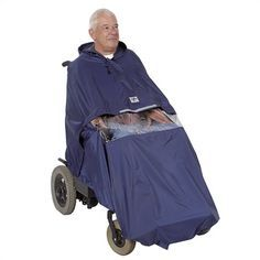 A weather protection cape that can be used by wheelchair users when in bad weather.