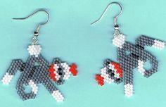 Hand Beaded Sock Monkey earrings by beadfairy1 on Etsy