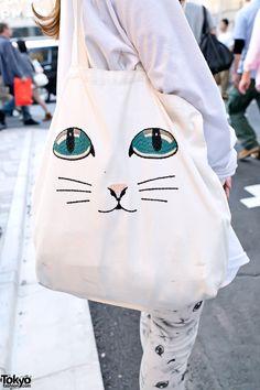 Cute Cutouts, Cat Tights, Cat Bag & Illustrated Mask in Harajuku