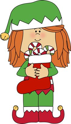 CHRISTMAS GIRL ELF CLIP ART