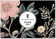 Night Blossoms - Signature White Thank You Cards - Baumbirdy - Black : Front
