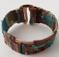 hand-painted silk bracelet made on a mirrix