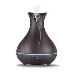 GREEVOO Essential Oil Diffuser Aroma Cool Mist Humidifier-Wood Black: This Essential Oil Diffuser with elegant black wood grain flower vase design can be use as beautiful and perfect d? Essential Oil Diffuser Humidifier, Best Essential Oil Diffuser, Ultrasonic Cool Mist Humidifier, Aroma Essential Oil, Aromatherapy Diffuser, Flower Vase Design, Dark Wood, Mists, Cool Things To Buy