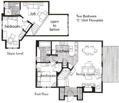 these floor plans are of the two bedroom c timeshare units at the village