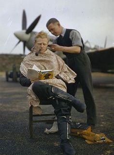 RAF Pilot Haircut Between Missions