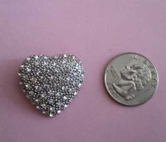 Clear Rhinestone & Silver Tone Heart Brooch