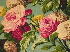 30s Minty Jadite Martha's Vineyard Vtg Barkcloth Fabric Drape Curtain
