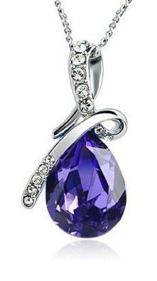 ARCO IRIS Eternal Love Teardrop Swarovski Elements Crystal Pendant Necklace for Women W 18k White Gold Plated Chain Amethyst Purple *** LIMITED TIME DEAL ***: Jewelry: Amazon.com