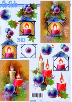 Le Suh Christmas Candles and Ornaments Christmas Decoupage, 3d Christmas, Christmas Clipart, Christmas Candles, Christmas Images, Christmas Printables, All Things Christmas, 3d Cards, Decoupage Paper