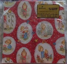 2-SHEETS-VINTAGE-HALLMARK-BETSEY-CLARK-OLD-STOCK-UNOPENED-WRAPPING-PAPER