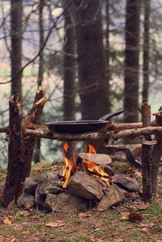 #the Ol' Fishing Cabin #campfire #frying pan #woods
