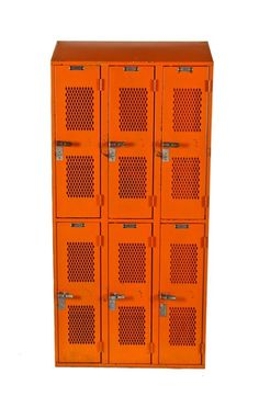 original c. 1950s vintage american industrial angled top heavy gauge steel ventilated chicago public school locker with orange enameled finish