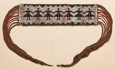 Great Lakes Pony Beaded Garter, loom beaded in white and black pony beads; braided green and red yarn ties, length of beadwork early century Alan Silberberg Collection, Massachusetts Native American Crafts, American Indians, Indian Beadwork, Beaded Moccasins, Pony Beads, Western Art, Great Lakes, Garter, Fur Trade