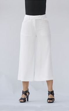 Go To Gaucho Pant from Monroe and Main.  Flare with a breezy crop cut is all about freedom and carefree styling. Wide waistband adds to the comfort.