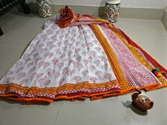 Handblock printed mul cotton sarees with pom pom lace