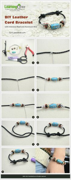 This tutorial is to guide you to make a cool leather cord bracelet with multiple European beads, lampwork beads and Indonesia bead.